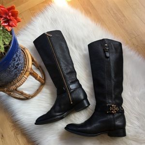 Tory Burch tumbled leather side zip riding boots
